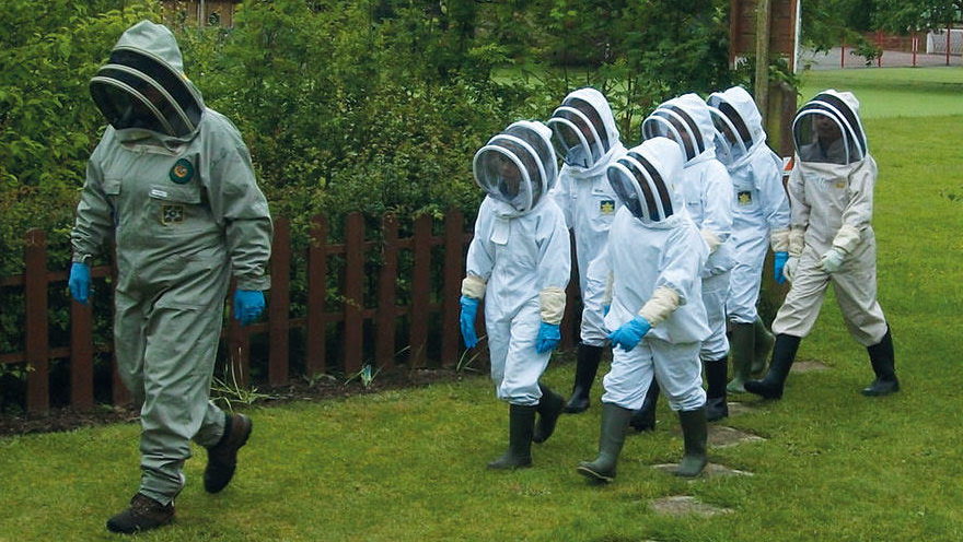 Children learning about beekeeping